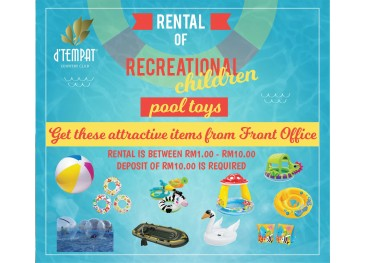 Rental of Recreational Children Pool Toys